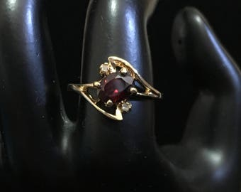 Vintage Garnet and Diamond Ring 24KT HGE LIND (designed by Gio)