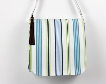 Messenger bag, Cross body bag, Large messenger bag, Striped messenger bag, Canvas messenger bag, Summer bag, Large summer bag