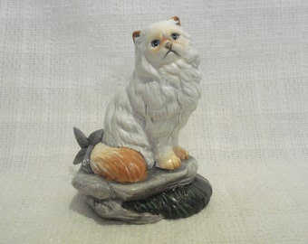 Himalayan Cat Figurine Red Flame Long-Haired Feline Red White Collectible New