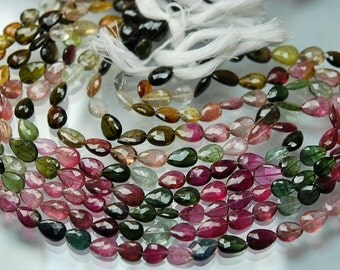 71 Carats,14 Inch strand Super-FINEST,Multi Tourmaline Faceted Full Drill Pear Briolettes 8-10mm