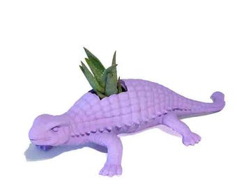 Huge Recycled Light Purple Ankylosaurus Dinosaur Planter