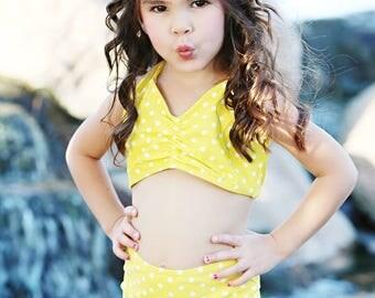 SALE Girls retro yellow & white polka dot high waist bikini two piece kids sizes 2-12