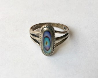 vintage sterling and abalone ring, size 6