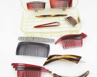 Eleven Hair Combs of All Kinds From the 50s and 60s - Tortoiseshell Plastic - Three With Rhinestones  - Hair Pick -  Great Colors