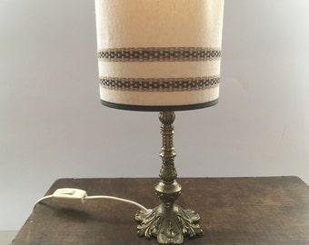 Vintage table lamp Golden brass lamp Golden iron lamp Mid Century Table lamp