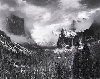 Ansel Adams, Clearing Winter Storm, Yosemite, Half dome, El Capitan, clouds, mountains, black & white photo, fine art print poster