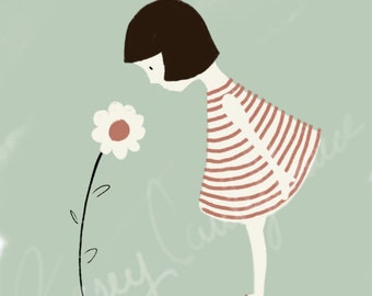 Little Lady Big Flower digital illustration