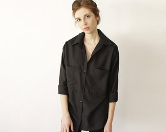 Classic Button Up Blouse, Elegant Clothing, Blouses for Work, Womens Blouses, Button Down Shirt for Women, Black Button Up, Loose Clothing