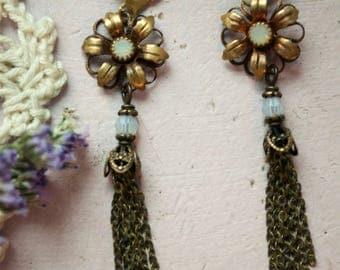 White Opal Brass Flower Fringe Earrings