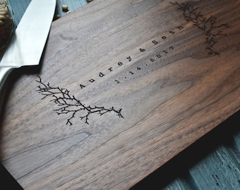 "Personalized Cutting Board "" Winter Branches"" Engraved Walnut Wood , Custom Wedding, Anniversary Gift"