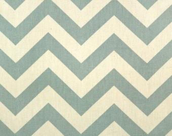 2.5 Yards Premier Prints Zig Zag Village Blue/Natural (Discontinuous) DESTASH