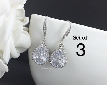 Set of 3, Wedding Earrings, Dangle Earrings, CZ Earrings, Bridesmaid Jewelry, Earrings, Bridal Earrings, Cubic Zirconia Earrings, Bridesmaid