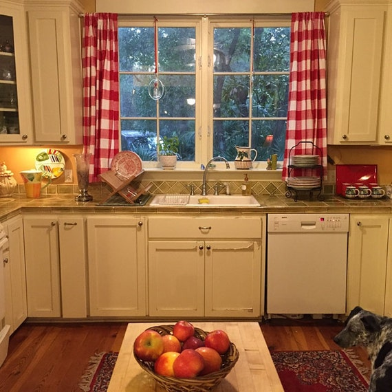 Buffalo Red And White Checked Curtains Kitchen Curtains