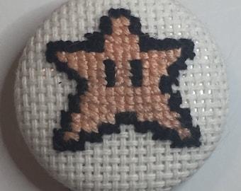 Super Mario Star Cross Stitch Magnet/Pin/Needleminder