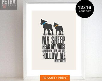 Nursery Bible verse Print,Sheep/ Lamb print -My Sheep hear my voice, and they know me and they follow me. John 10:27