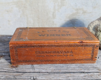 Antique Cigar Box, F R Rice and Co's, Winner, Clear Havana, Factory No 50, Dist NY 100, Man Cave, Barware