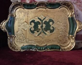 Vintage shabby chic Italian florentine wood toileware serving tray