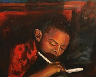 Original oil painting african american boy doing homework Americana sepia