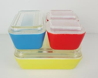 Vintage Pyrex Primary Colors Refrigerator 8 Piece Set