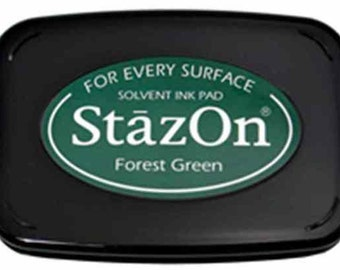 Tsukineko StazOn Solvent Based Ink Pad - Forest Green SALE SALE SALE
