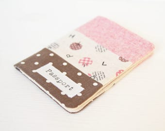 Zakka style passport cover - holder in dots and kawaii apples and alphabet fabric