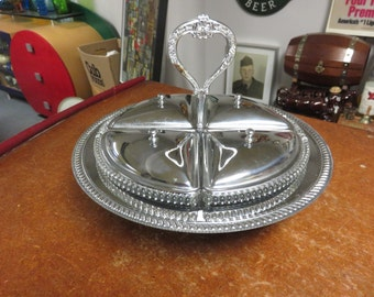 Vintage Chrome and Glass Holiday Relish Lazy Susan Serving Dish