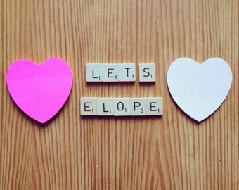 Scrabble Tile Magnets, Travel, Eco Friendly, Upcycled, Lets Elope, Valentines, Wedding