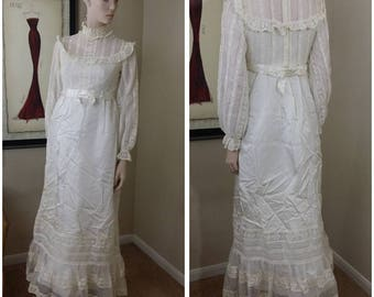 vintage ivory 70s Victorian style handmade wedding dress wedding gown