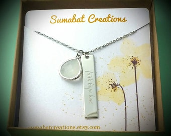 Lung cancer awareness,Lung cancer,Faith hope love,Long bar necklace,Lung cancer awareness necklace,Hope for cancer jewelry,Awareness jewelry