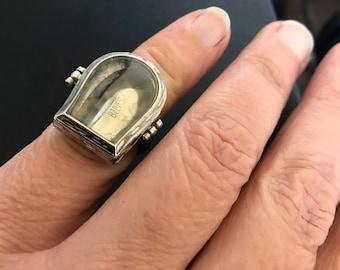 Antique Art Deco 1930's 18KT Solid White Gold Coffin Mourning Jewelry  Shaker Locket @CELESTEANDCOGEMS