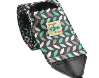 DSLR Camera Strap with Lens Pocket - The Gray and Turquoise Leaves