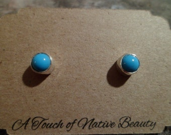 Authentic Navajo,Native American,Southwestern sterling silver Sleeping Beauty turquoise stud earrings. 5mm stones.Made to order