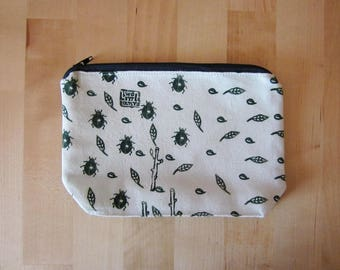 Cosmetics pouch, Hand printed canvas pouch, Beetles and leaves print,  Zipper pouch, Naturalistic bag, handprinted canvas, white pouch