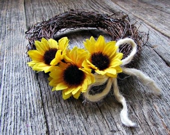 Sunflower Candle Ring Wreath, Floral Flower Candle Ring, Rustic Candle Holder, Sunflower Wedding Centerpiece, Country Rustic Wedding Decor