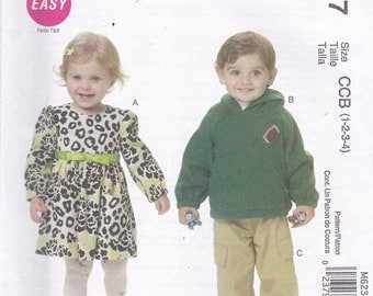 McCalls 6237  Vintage Pattern - Toddlers Dress, Hoodie and Pants Size 1, 2, 3 ,4  UNCUT