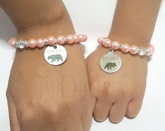 Mama Bear Bracelet, Mama Bear Jewelry, Baby Bear Bracelet, Baby Bear Jewelry, Mommy and Me , Pink Bracelets, Handmade Custom Beaded Jewelry