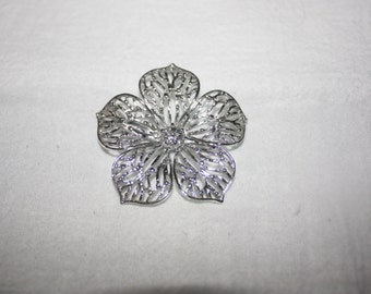 Vintage Gerrys Silver tone Cut out Flower Pin or Brooch