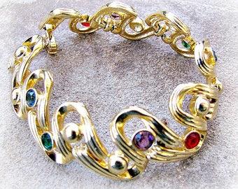 Gold Swarovski Bracelet, Jewel Tone Crystals, Open Back Bezel Set Stones, Ribbon Link, Swan Mark, 1980s Glam