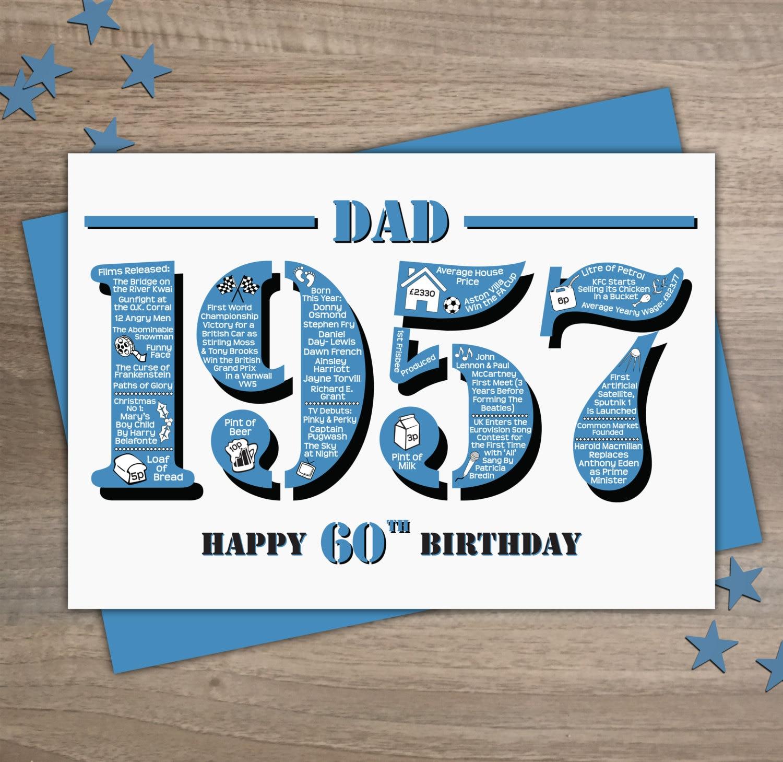 Happy 60th Birthday Dad Greetings Card Born In 1957 British Happy 60th Birthday Dad