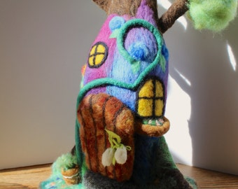 Needle Felt Fairy Tree House FREE Shipping - OOAK - Handmade for Gnomes, the Fae & the Sprites - Waldorf Playscape