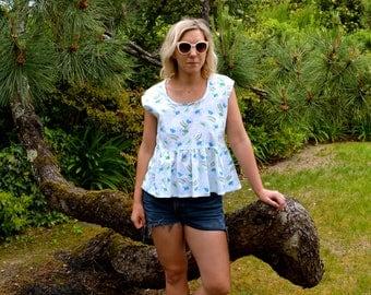 Summer peplum top, smock top, cotton top, vintage fabric, white, rainbow print