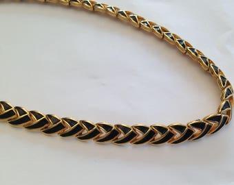 Vintage 1970s D'Orlan Short Length Goldtone and Black Enamel Chain Link Necklace.