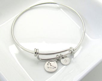 Silver Zodiac Constellation Bracelet- Best Friend Birthday Gift-Custom Zodiac Jewelry-Celestial Jewelry-Zodiac Bangle-Aries Taurus Gemini