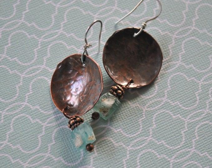Copper and ancient glass dangling earrings, textured metal earrings, rustic earrings, artisan earrings