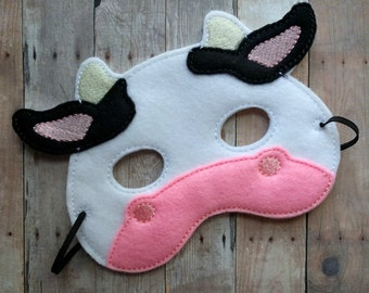 Cow Felt Mask, Elastic Back, White, Black and Pink Acrylic Felt with Embroidery, Made in USA, Cosplay, Halloween Costume, Photo Booth Prop
