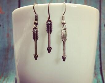 Arrow Earrings - Fiver Friday - Warrior Earrings - Tribal Earrings - Archery Earrings - Arrow Charms - Tiny Dangle Earrings
