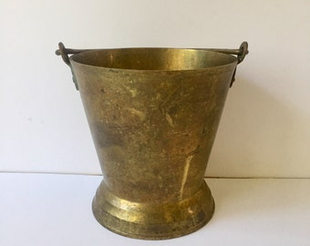 Vintage Brass Bucket Vase