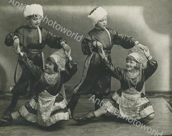 Midget circus dancers in Russian costumes antique photo
