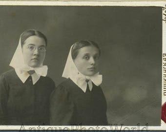 Young Russian nurses in kerchiefs antique CDV photo