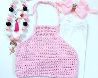 Pink Hippie Bo Ho Crochet Halters, Bohemian Crop Top, Girls Crochet Halters, Crochet Halters, Girl's Bohemian Crop Top, PInk Crop Tops